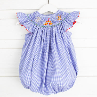 Circus Smocked Bubble Royal Blue Gingham