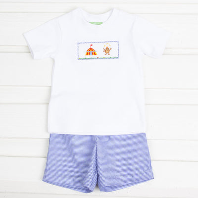 Circus Smocked Short Set Royal Blue Gingham
