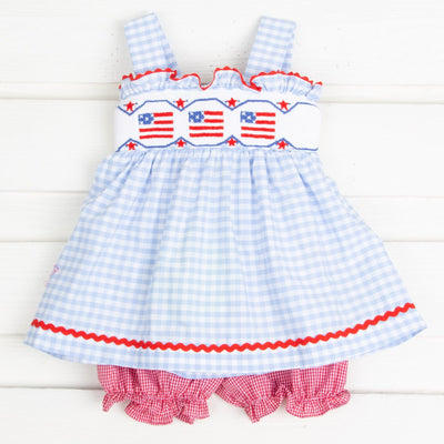 Flag Smocked Tie Back Bloomer Set Light Blue Gingham