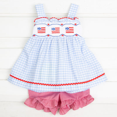 Flag Smocked Tie Back Short Set Light Blue Gingham