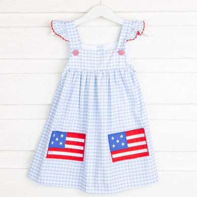 Flag Applique Jumper Light Blue Gingham