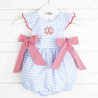 Side Tie Bubble Light Blue Gingham