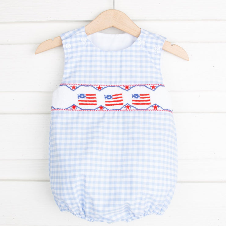 Smocked Flag Sun Bubble Light Blue Gingham