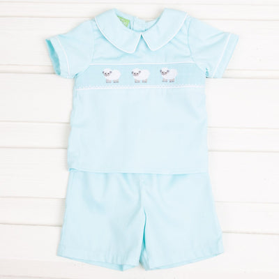 Lamb Smocked Short Set Mint Pique