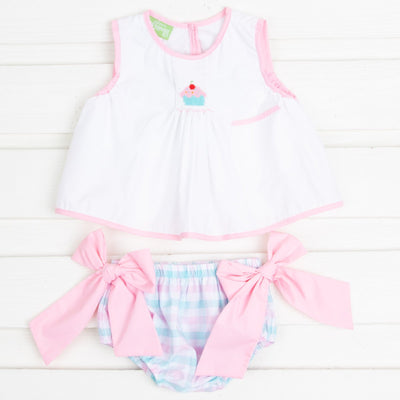 Cupcake Single Smocked Bloomer Set Pink and Blue Plaid