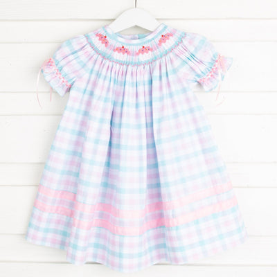 Cupcake Smocked Bishop Aqua and Pink Plaid