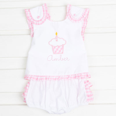 Cupcake Applique Popover Bloomer Set