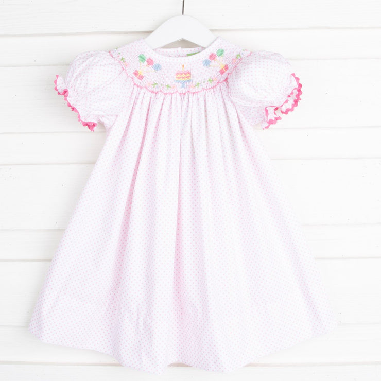 Birthday Party Smocked Bishop Candy Pink Dot