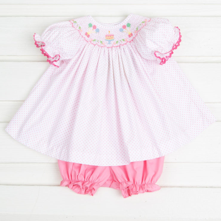 Birthday Party Smocked Bloomer Set Candy Pink Dot