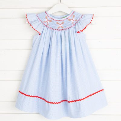 Baseball Smocked Dress Light Blue Gingham