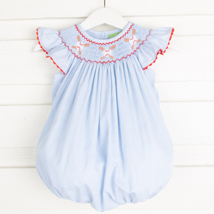 Baseball Smocked Bubble Light Blue Gingham