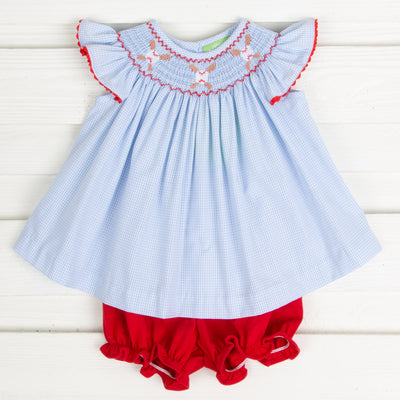 Baseball Smocked Bloomer Set Light Blue Gingham