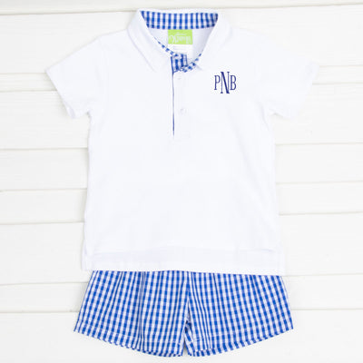 Royal Blue Gingham Polo Short Set