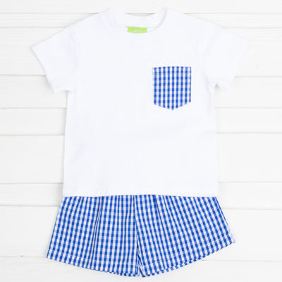 Royal Blue Gingham Pocket Shirt Short Set