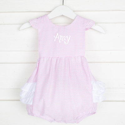 Pink Gingham Seersucker Ruffle Bubble