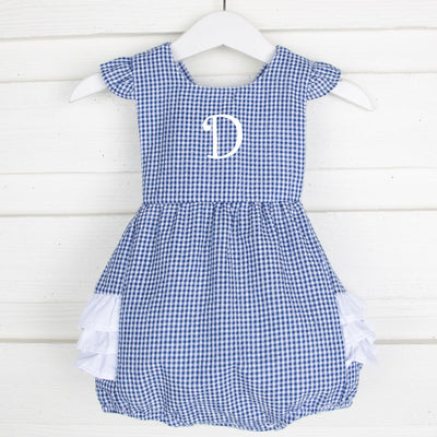 Royal Gingham Seersucker Ruffle Bubble