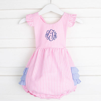 Pink and Blue Gingham Ruffle Bubble