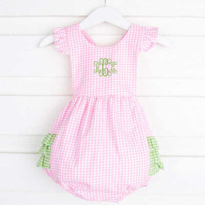 Pink and Green Gingham Ruffle Bubble