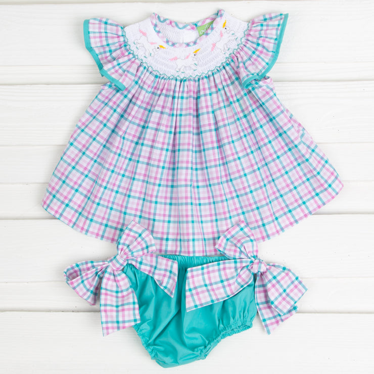 Smocked Unicorn Bloomer Set Teal and Pink Plaid