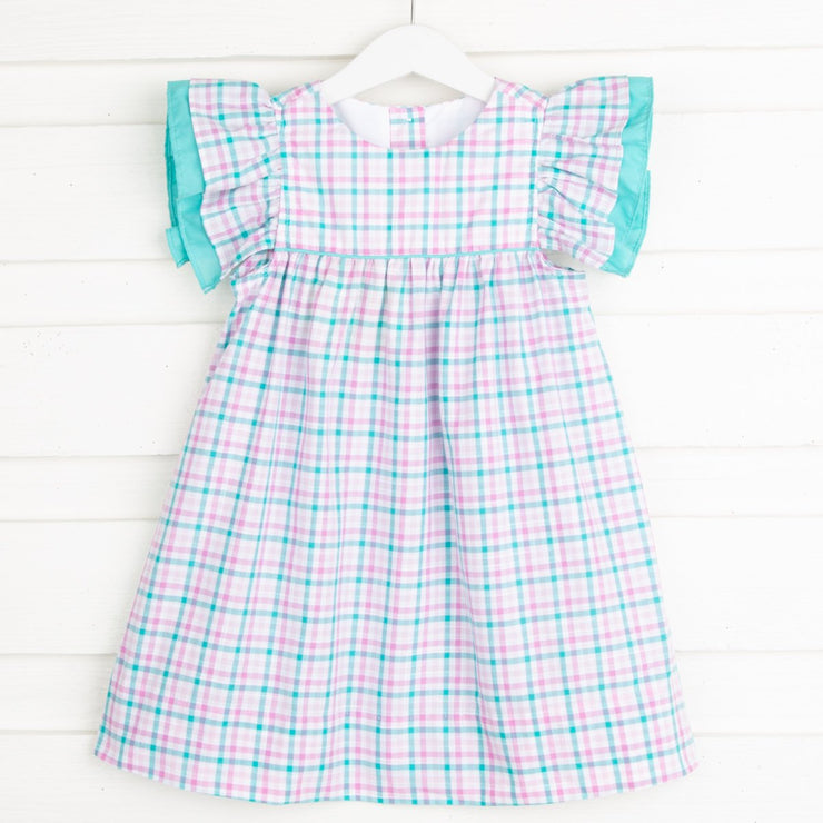 Double Ruffle Dress Pink and Teal Plaid