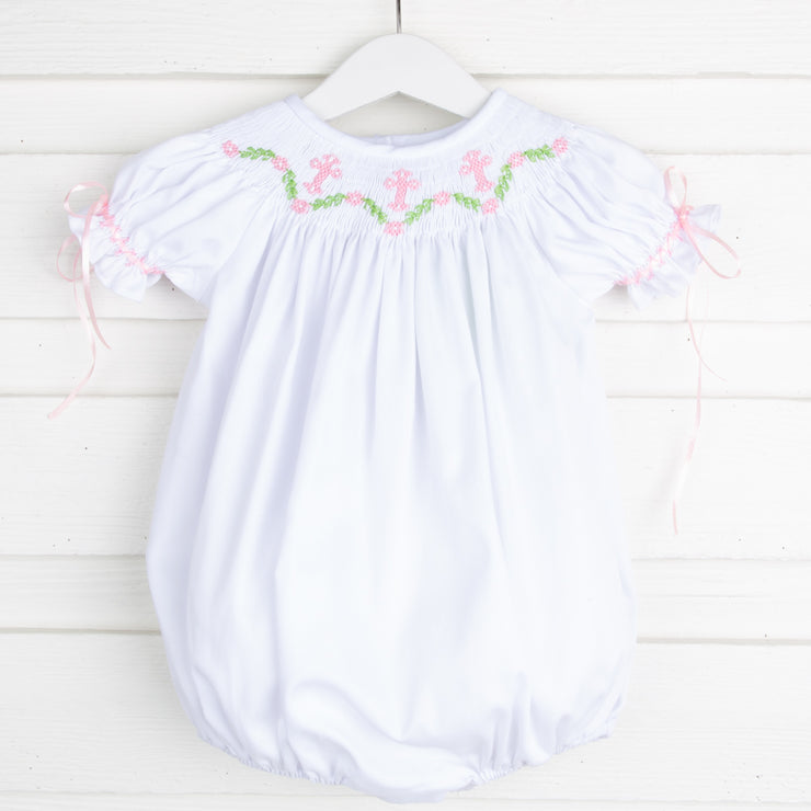 Pink Cross Smocked Bubble White Pique