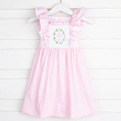 Pink Cross Embroidered Ruffle Dress Pique