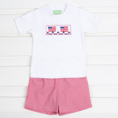 Smocked Flag Short Set Red Gingham