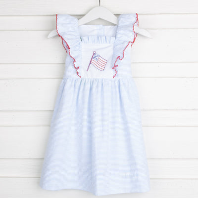 Flag Embroidered Flutter Sleeve Dress Light Blue Stripe Seersucker
