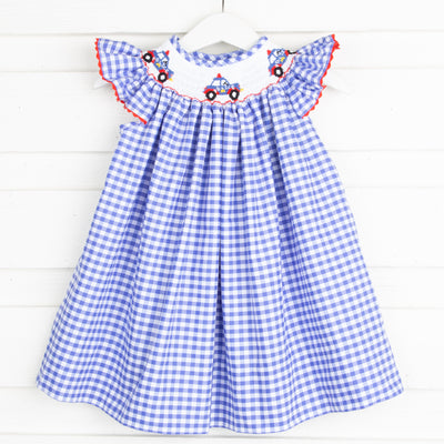 Police Car Smocked Dress Royal Blue Gingham