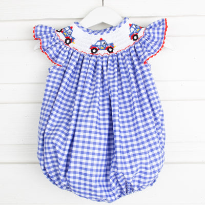 Police Car Smocked Bubble Royal Blue Gingham