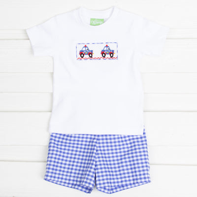 Police Smocked Short Set Royal Blue Gingham