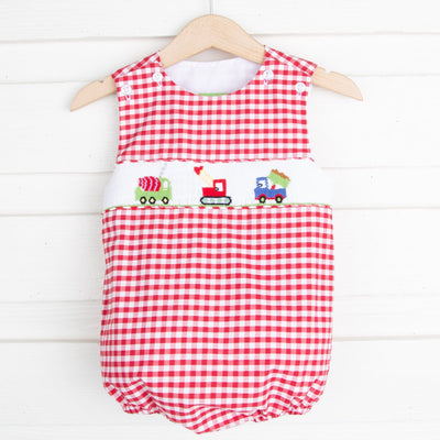 Construction Smocked Sun Bubble Red Check