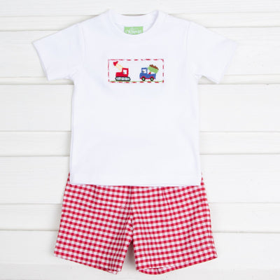 Construction Smocked Red Check Short Set