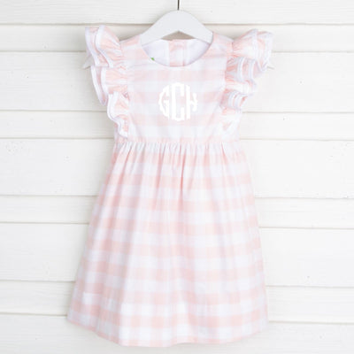 Peach Buffalo Check Double Ruffle Dress