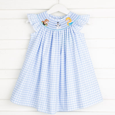 Ice Princess Smocked Dress Light Blue Gingham