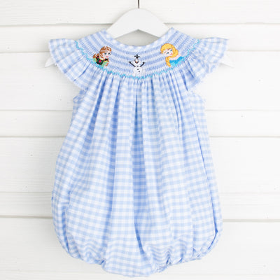 Ice Princess Smocked Bubble Light Blue Gingham