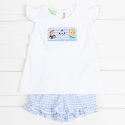 Ice Princess Smocked Short Set Light Blue Gingham