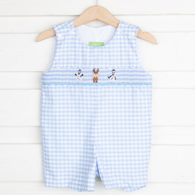 Happy Snowman Smocked Jon Jon Light Blue Gingham