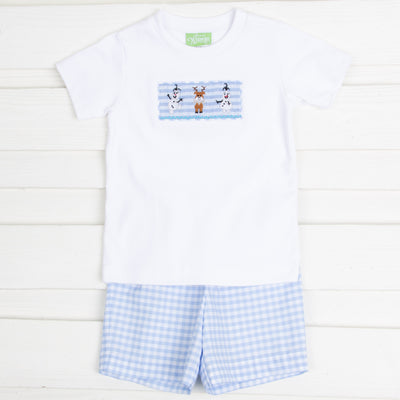 Happy Snowman Smocked Short Set Light Blue Gingham