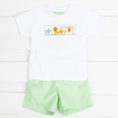 Safari Smocked Short Set Lim Green Gingham