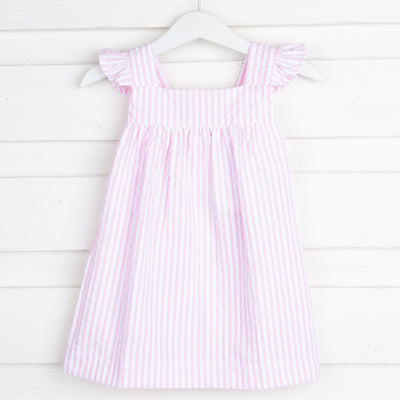 Pink Stripe Seersucker Amy Dress