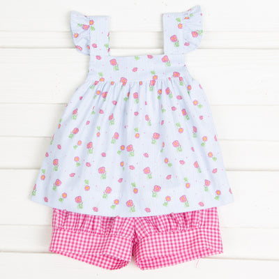 Roses on Blue Stripe Amy Short Set