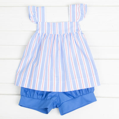Blue and Red Stripe Amy Short Set