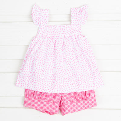 Pink Basketweave Amy Short Set