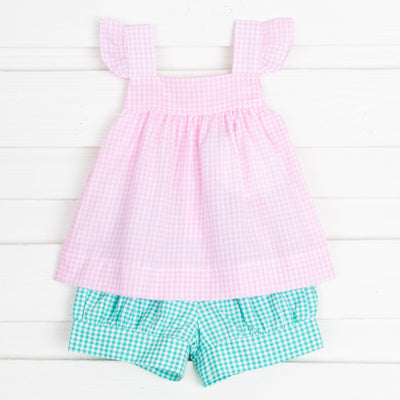 Pink and Green Gingham Amy Short Set