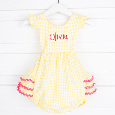 Yellow Gingham Ruffle Bubble