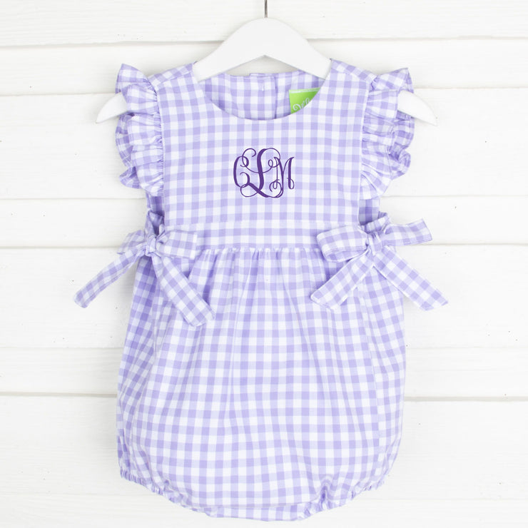 Purple Gingham Side Tie Bubble