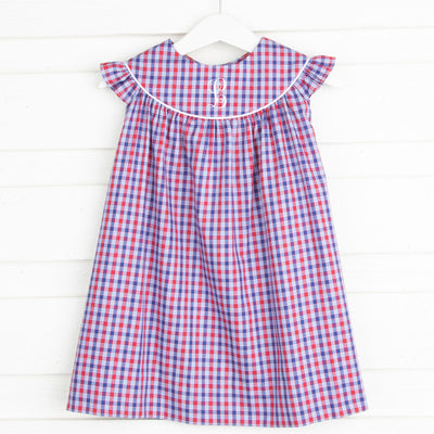 Patriotic Lucy Dress Plaid