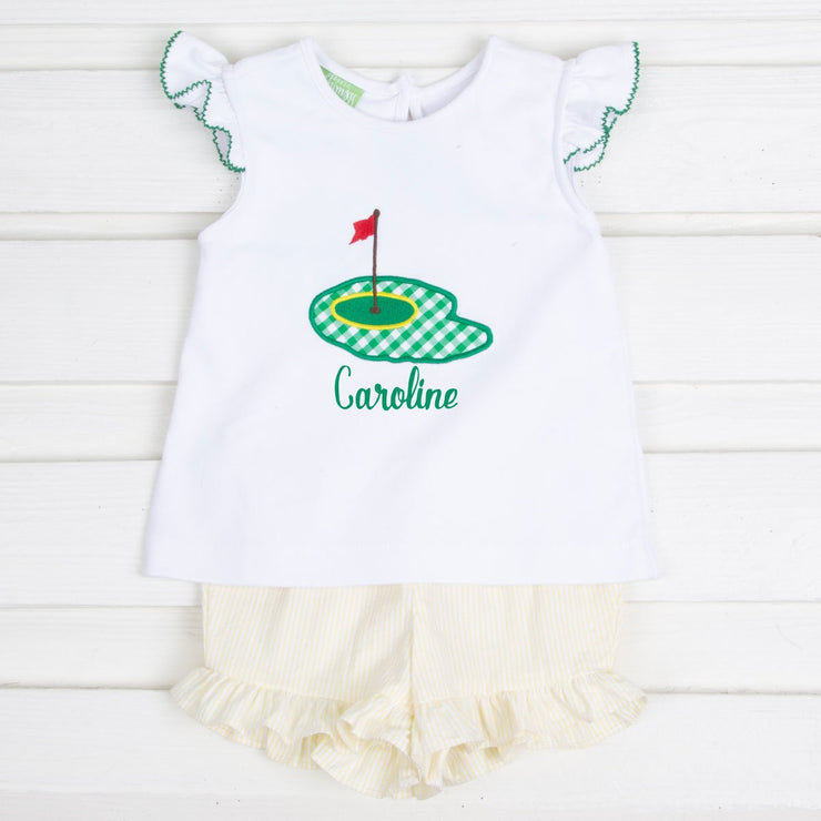 Girls Golf Pin Short Set Yellow Seersucker Knit