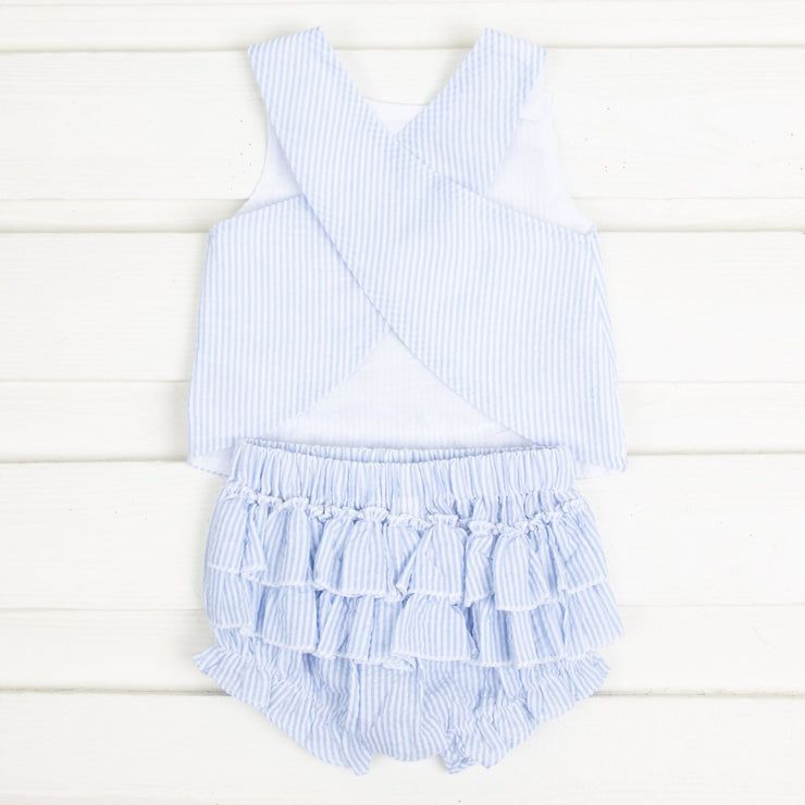 Light Blue Seersucker Turtle Top and Bloomer Set